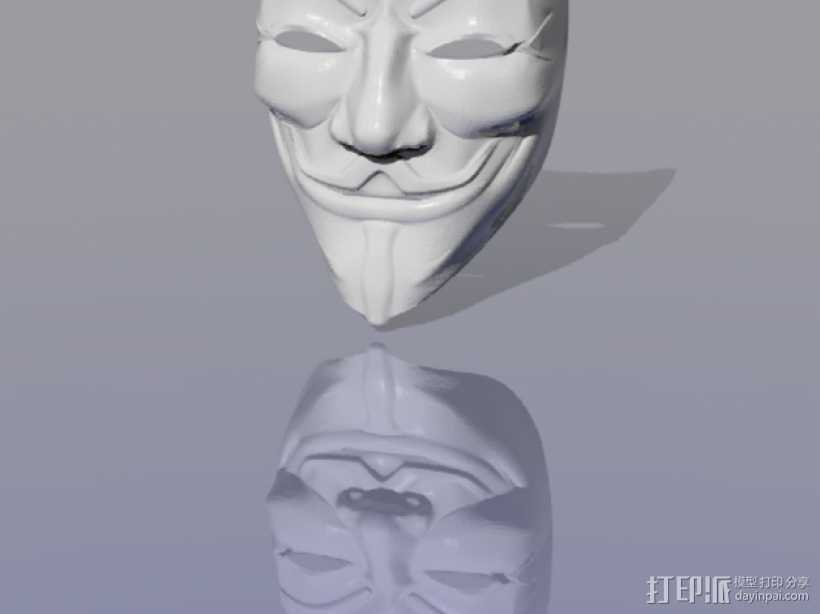 Guy Fawkes盖伊福克斯的面具 3D打印模型渲染图