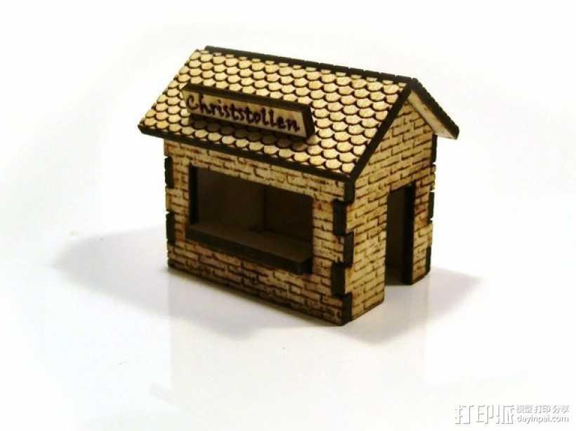激光切割圣诞小屋 3D打印模型渲染图