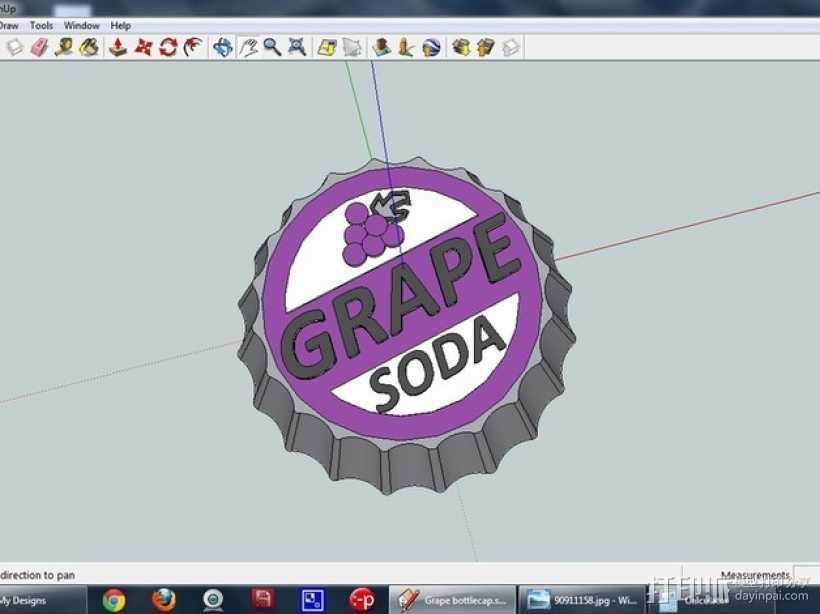 葡萄味苏打水瓶盖 3D打印模型渲染图
