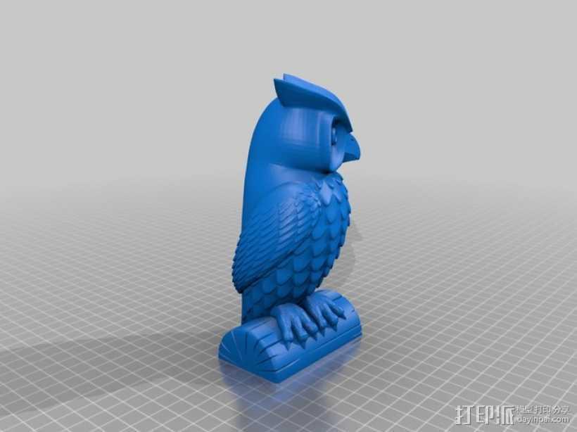 猫头鹰雕像 3D打印模型渲染图