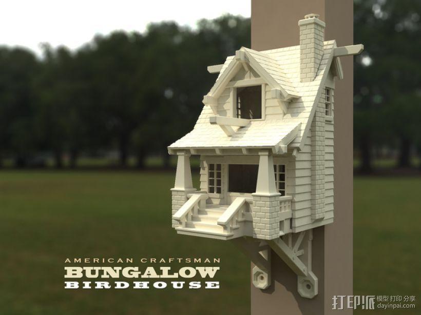 漂亮鸟笼房子 3D打印模型渲染图