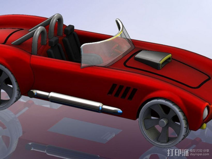 1967年款Shelby Cobra眼镜蛇跑车 3D打印模型渲染图