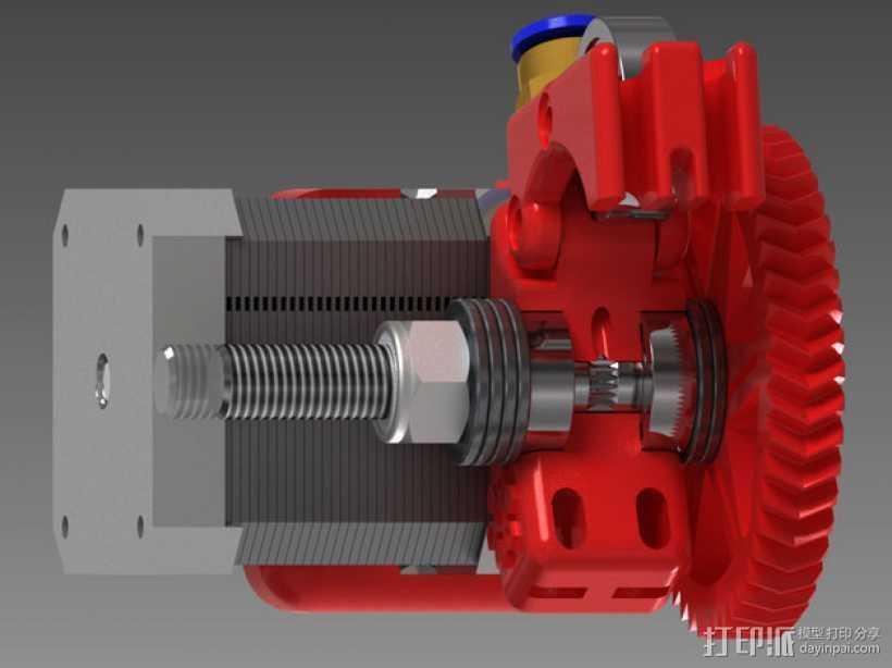 75齿轮驱动挤出机 3D打印模型渲染图