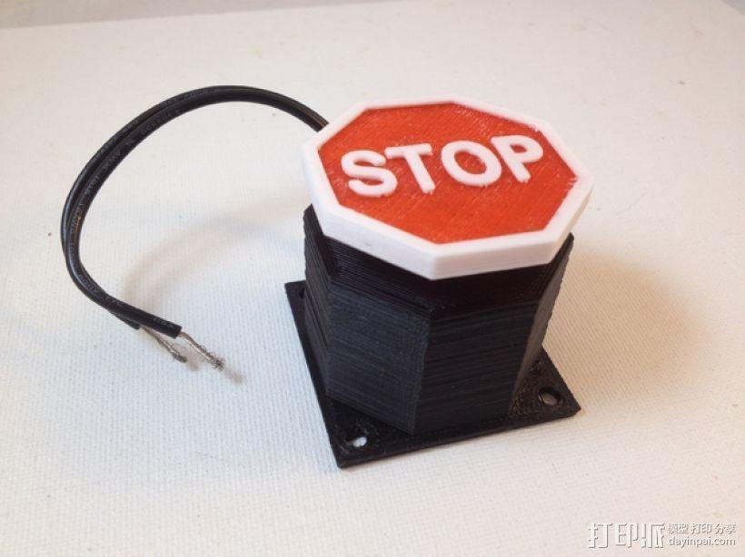 紧急按钮 3D打印模型渲染图