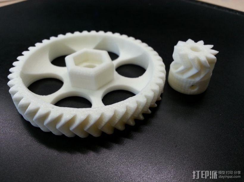 挤压机齿轮 3D打印模型渲染图