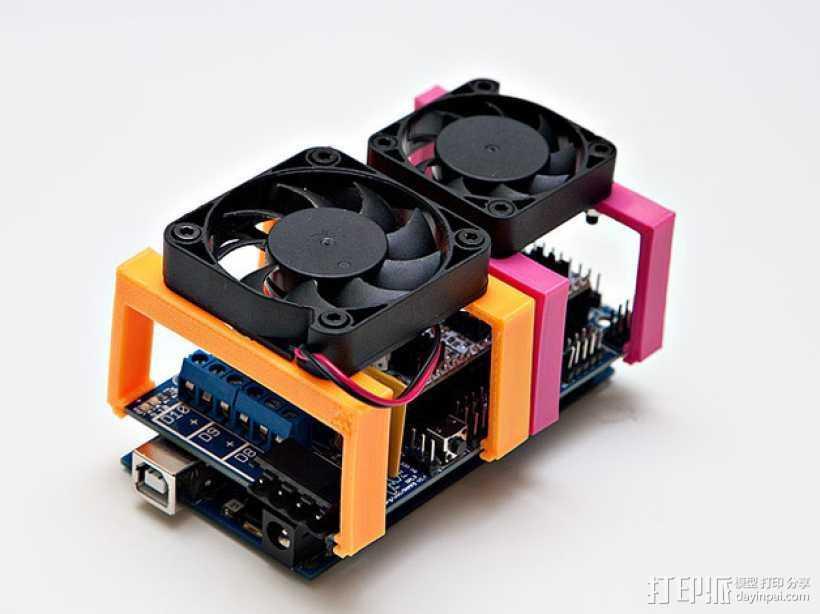 MOAB电路板风扇支架 3D打印模型渲染图