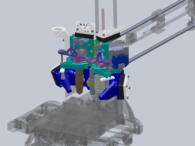 简易双挤出机 3D打印模型渲染图
