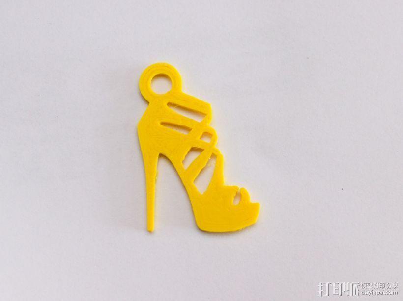 高跟鞋 吊坠 3D打印模型渲染图
