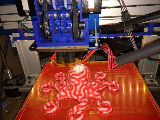 皮带驱动双挤出机 3D打印模型渲染图