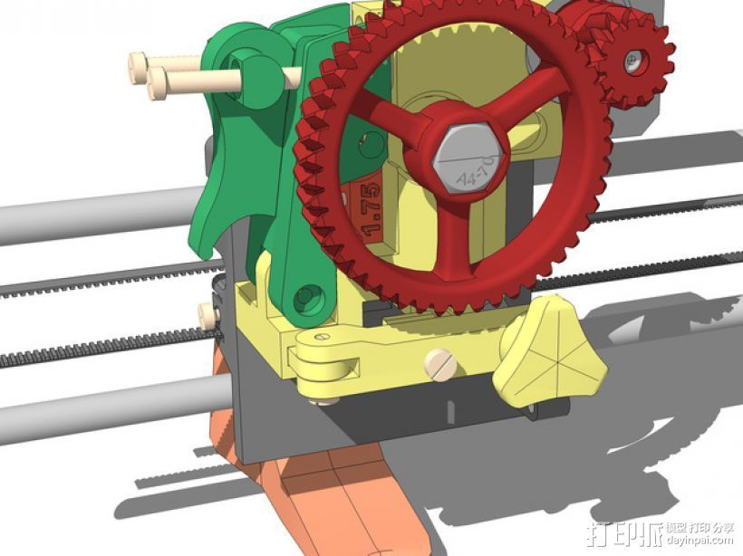 LUCAS 挤出机 3D打印模型渲染图