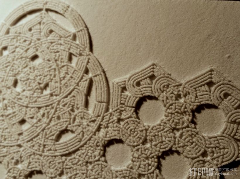 六角星透光浮雕板 3D打印模型渲染图