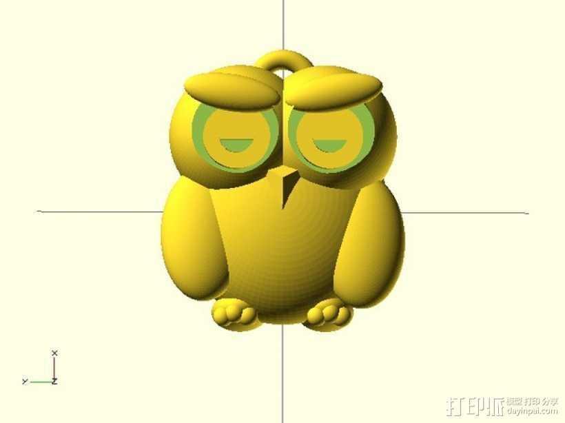 猫头鹰挂件 3D打印模型渲染图
