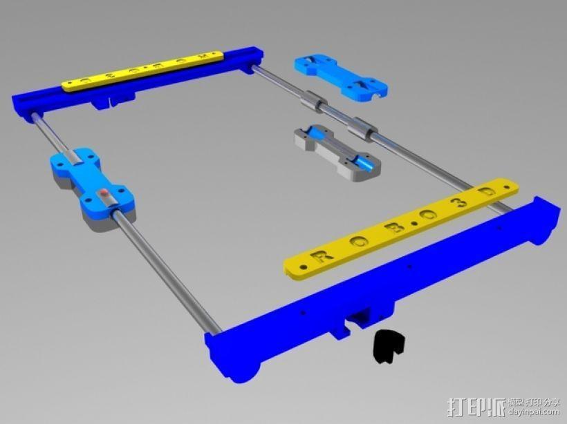 打印机Y轴光杆  3D打印模型渲染图