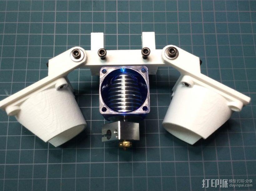 Bowden E3D V6打印机风扇 风扇座 3D打印模型渲染图