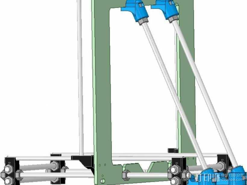Prusa i3打印机铝制框架 3D打印模型渲染图