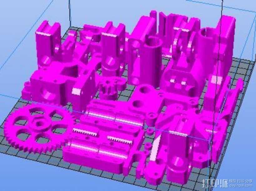 Prusa i3打印机部件 3D打印模型渲染图