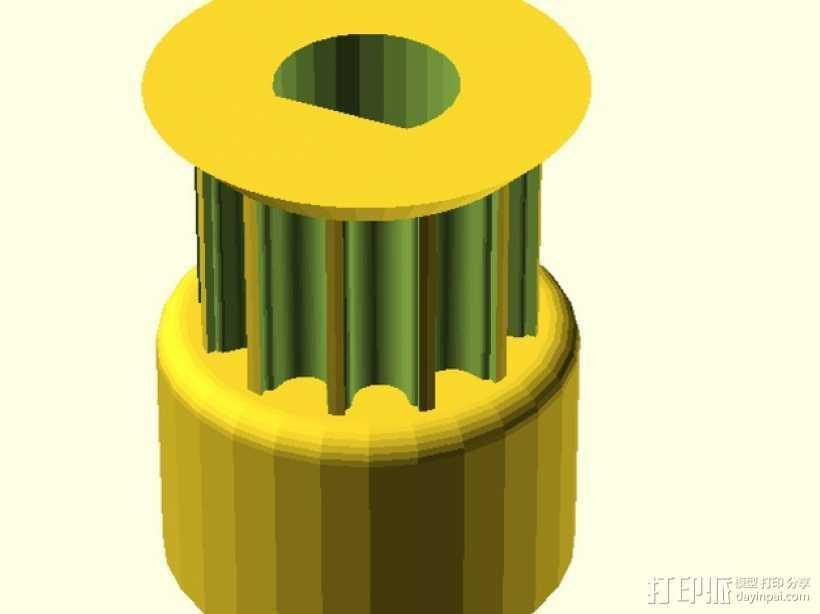 打印机滑轮 3D打印模型渲染图