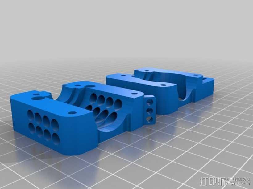 Bowden挤出机支架 风扇架 3D打印模型渲染图
