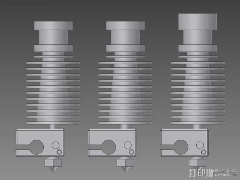 打印机E3D V6喷头  3D打印模型渲染图