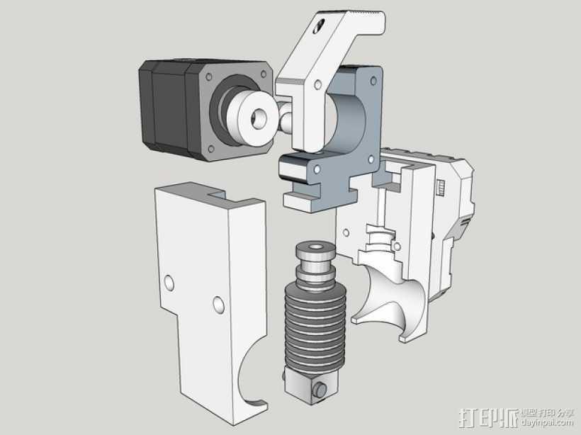直线挤出机 3D打印模型渲染图