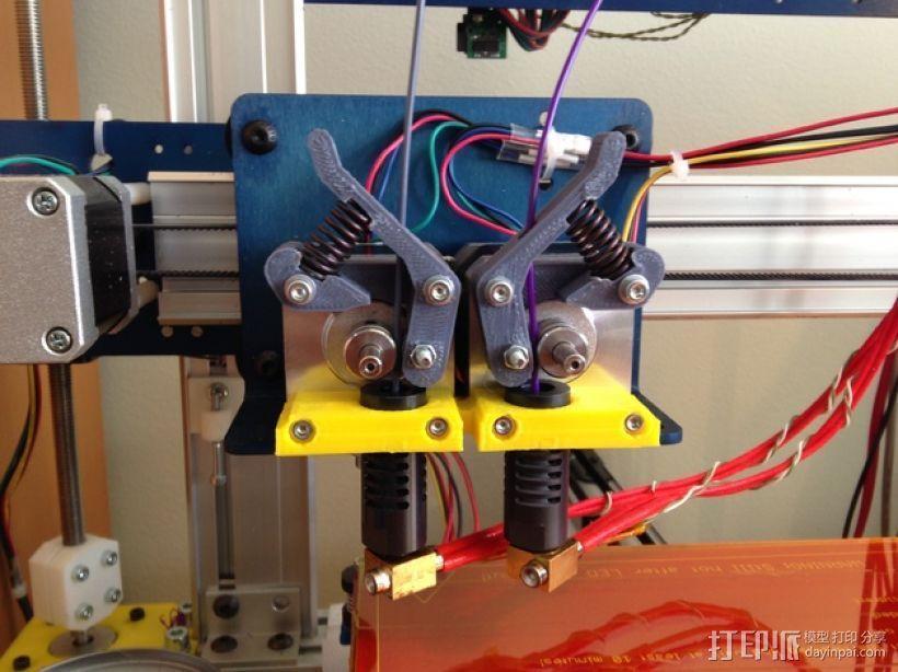 双挤出机支撑座 支架 3D打印模型渲染图
