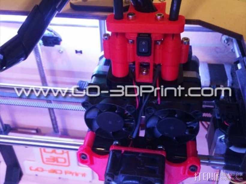 打印机散热装置 3D打印模型渲染图