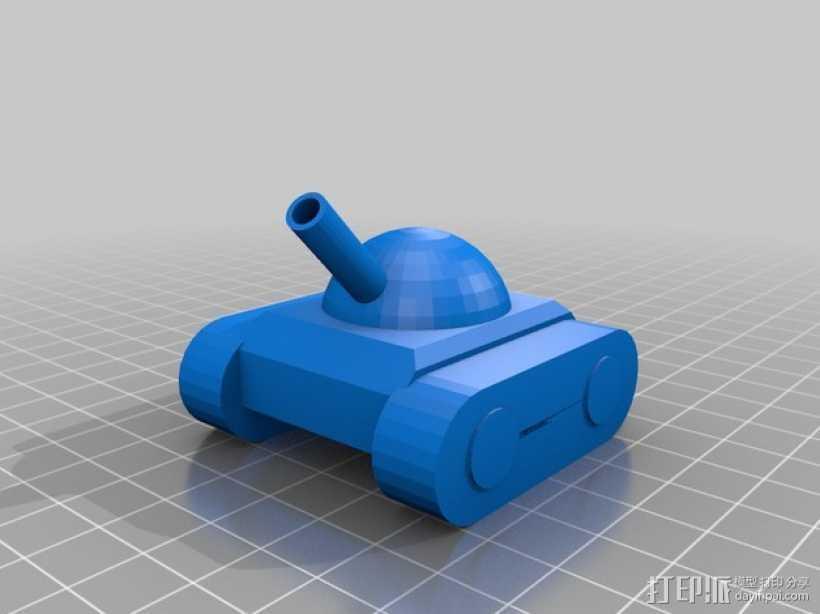 玩具坦克 3D打印模型渲染图