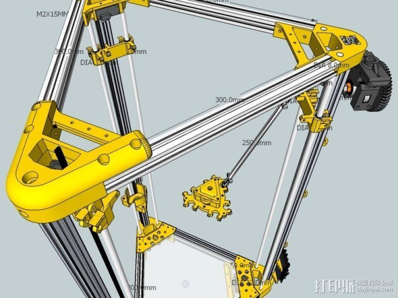 Kossel 打印机 3D打印模型渲染图