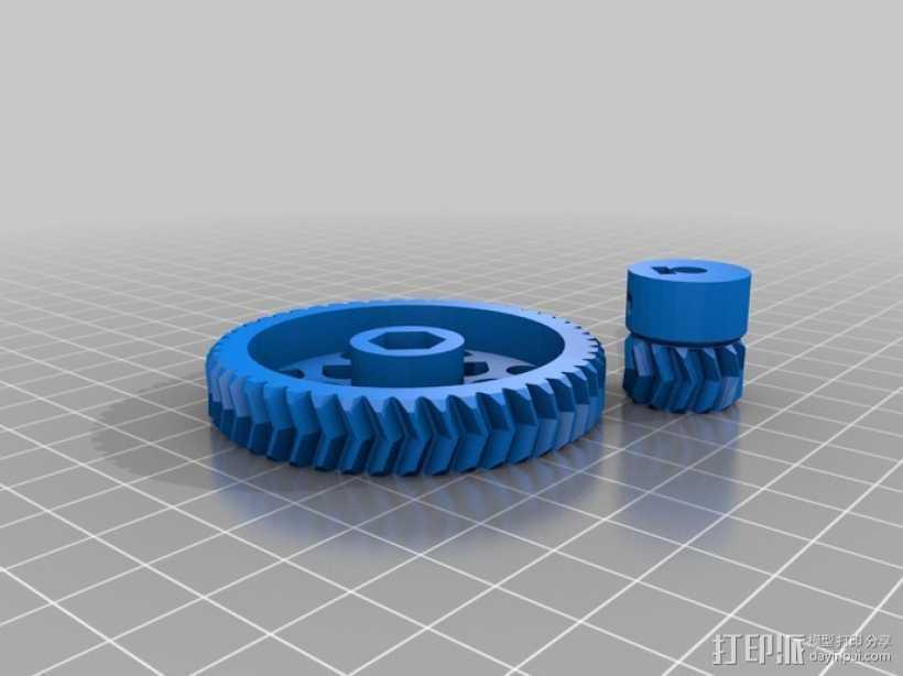 人字形齿轮挤出机 3D打印模型渲染图