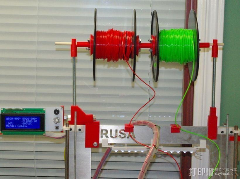 Prusa i3打印机LCD显示屏支架 线轴架 3D打印模型渲染图