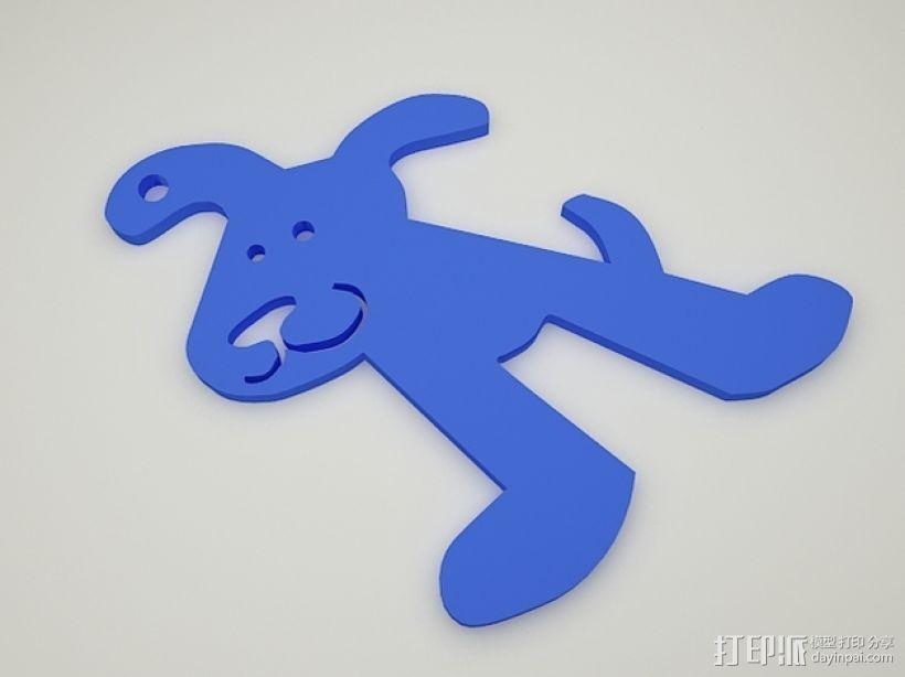 小狗钥匙扣 3D打印模型渲染图