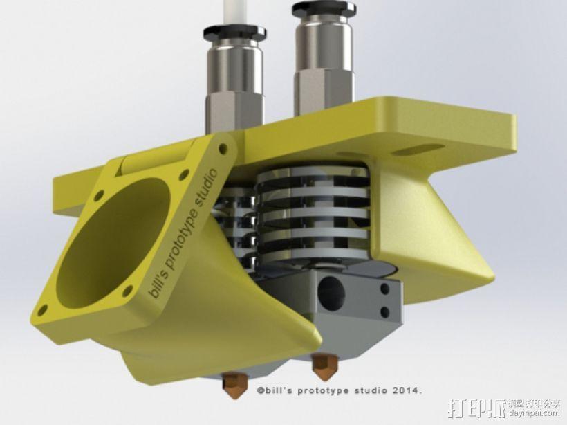 双挤出机喷头架 风扇架 3D打印模型渲染图