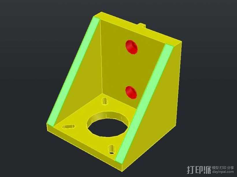 NEMA17步进电机垂直支架 3D打印模型渲染图