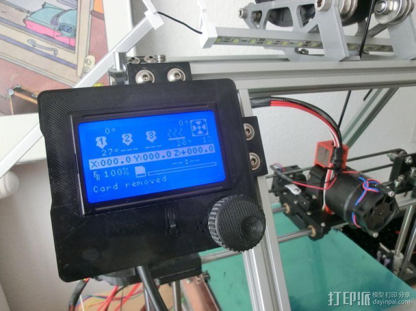 打印机智能控制器LCD显示屏保护外壳 3D打印模型渲染图