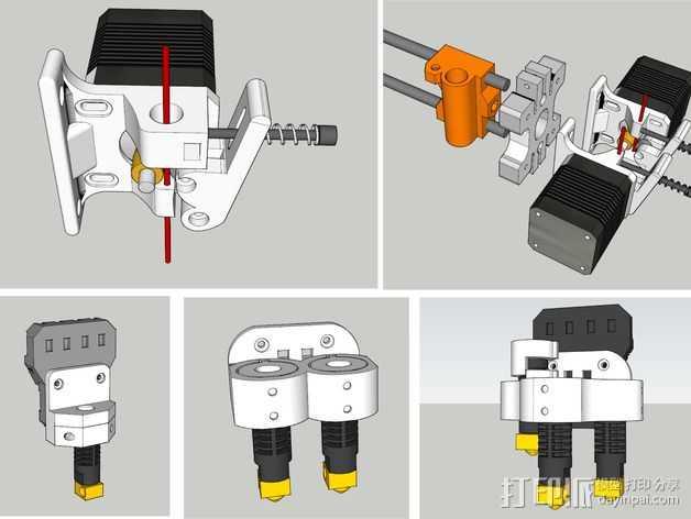 双挤出机/三喷头挤出机 3D打印模型渲染图