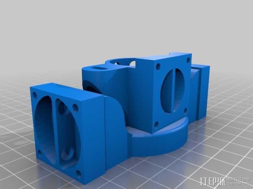 挤出机散热装置 3D打印模型渲染图