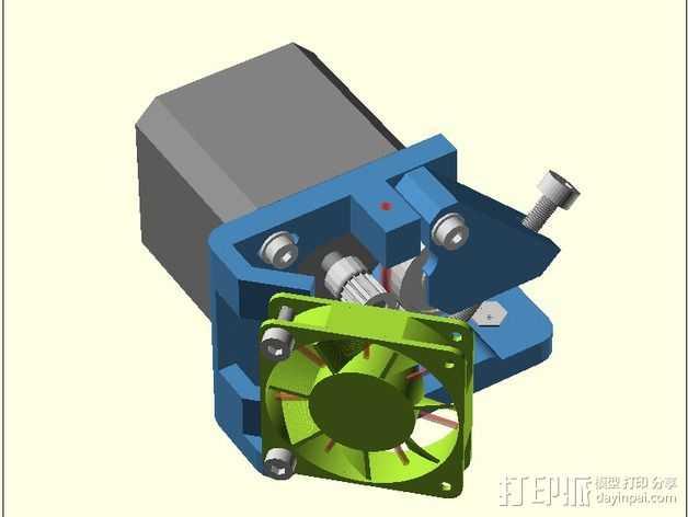 直线驱动Nema 17/23挤出机 3D打印模型渲染图