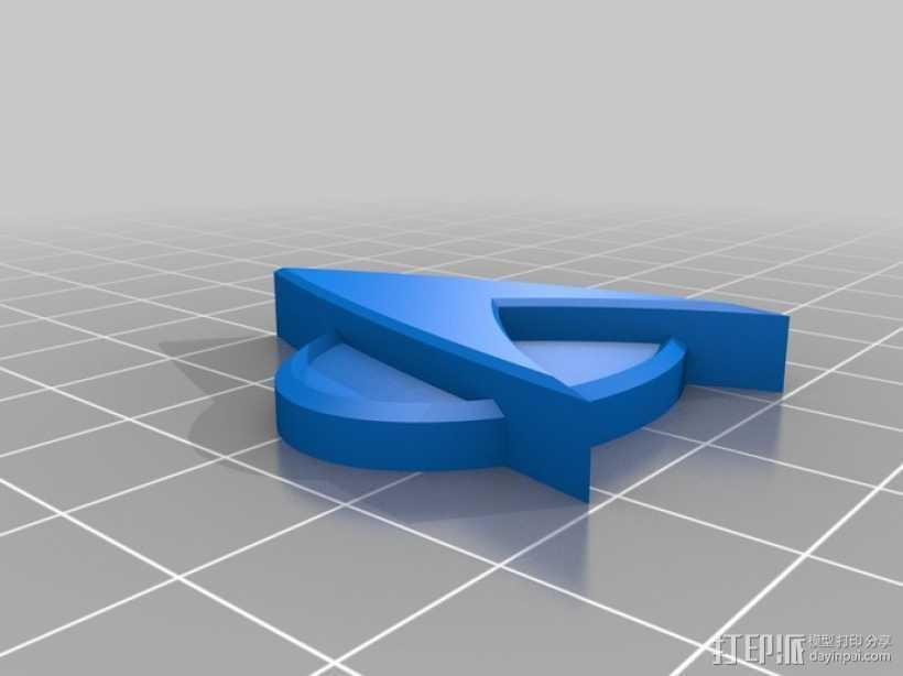 星际迷航标志 徽章 3D打印模型渲染图