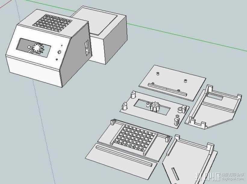 ramps 1.4主板控制器外壳 3D打印模型渲染图