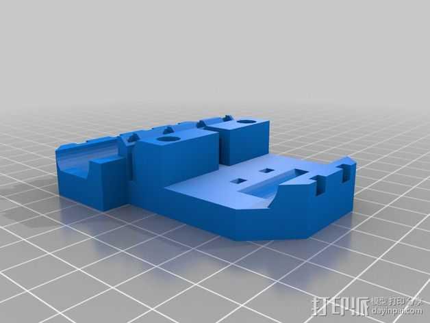打印机X轴直线驱动挤出机部件 3D打印模型渲染图