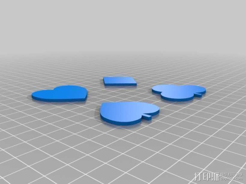 红桃 梅花 方块 黑桃 3D打印模型渲染图