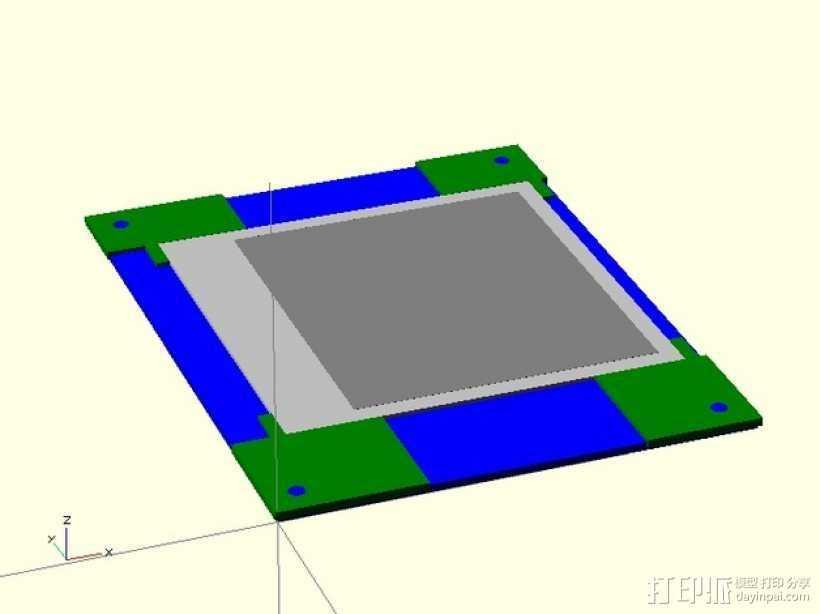 打印床镜架 托架 3D打印模型渲染图