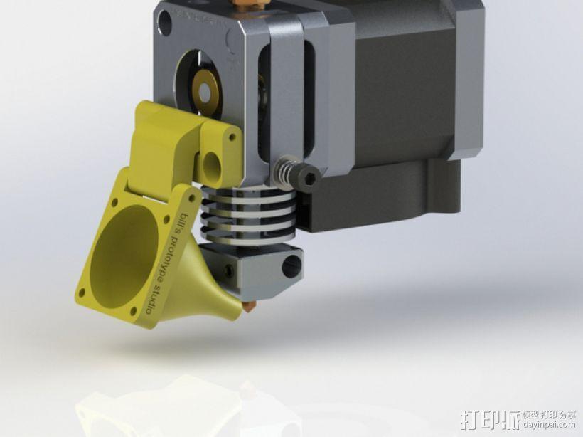 直线驱动挤出机风扇支架 3D打印模型渲染图