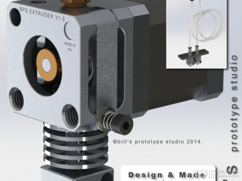 BPS 挤出机适配器 3D打印模型渲染图
