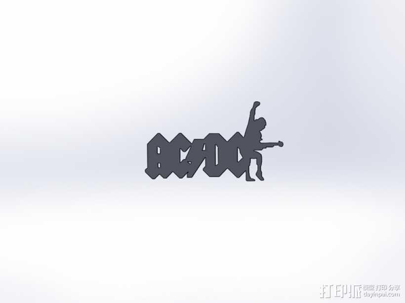 AC/DC乐队标志 3D打印模型渲染图