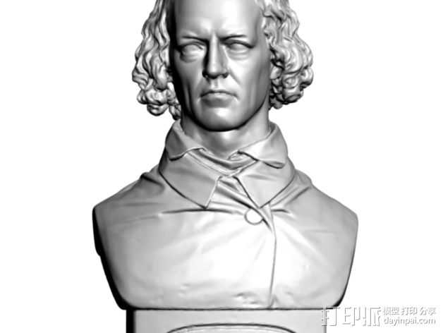 Alfred Tennyson丁尼生半生雕塑 3D打印模型渲染图