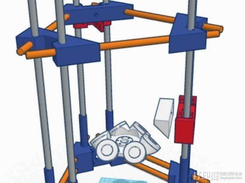 Delta式3D打印机 3D打印模型渲染图