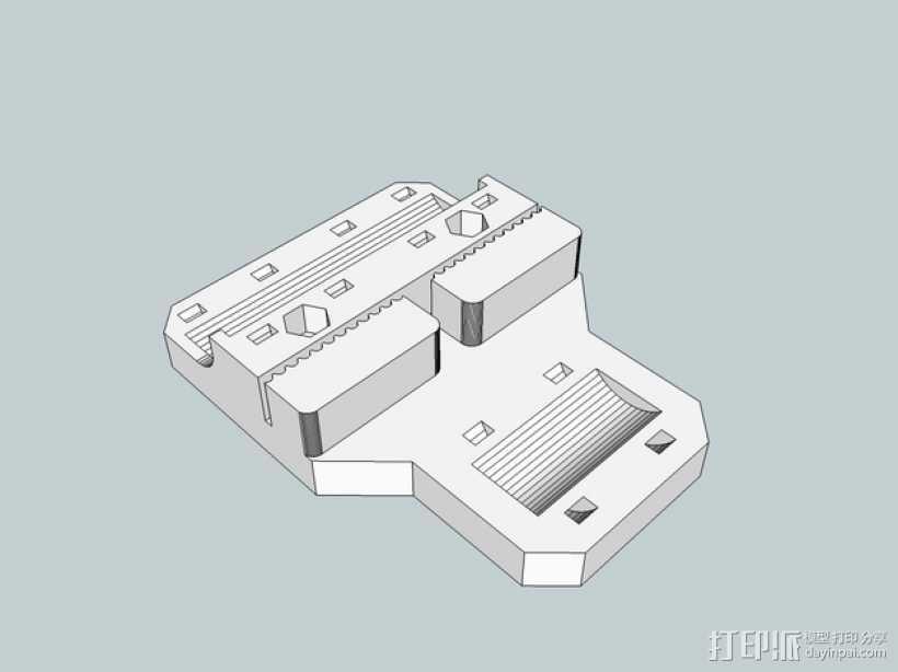 Sketchup i3打印机皮带固定器 3D打印模型渲染图