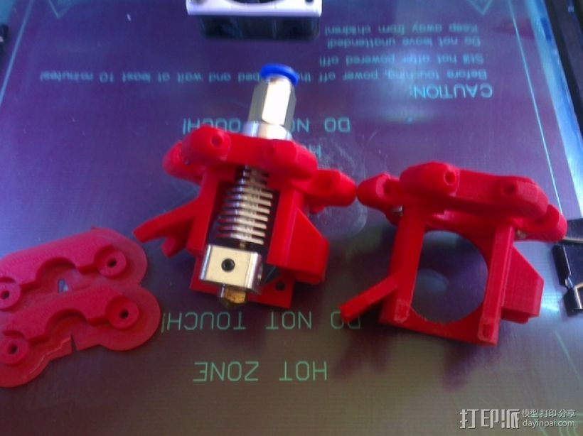 Kossel 打印机六角喷头支架 3D打印模型渲染图