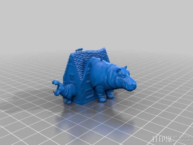 房屋 河马 3D打印模型渲染图